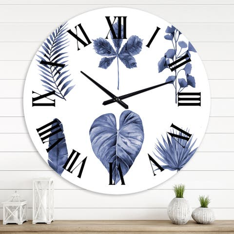 Designart 'Abstract Blue Set Of Plant Leaves' Traditional wall clock