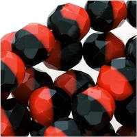 Czech Fire Polished Glass Beads 8mm Round 2-Color Black/Red (25)