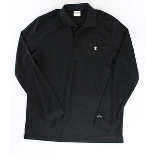 IZOD NEW Solid Black Mens Size Medium M Polo Striped Golf Shirt