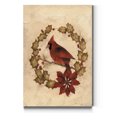 Cardinal in Wreath-Premium Gallery Wrapped Canvas - Ready to Hang