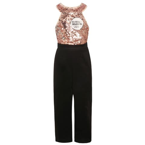 Girls Blush Pink Sequin Halter Top Black 1pc Dressy Occasion Jumpsuit