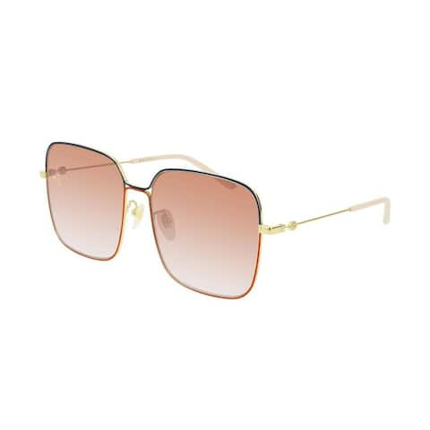 GUCCI Oversized Square Web and Sylvie Sunglasses Gold - One size