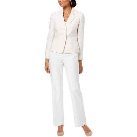 Le Suit Womens Tweed Two Button Blazer Jacket, Off-white, 16