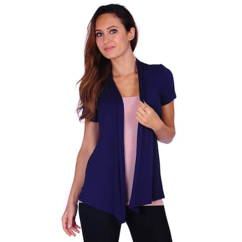 Simply Ravishing Women's Basic Short Sleeve Draped Open Front Cardigan (Size: S-3X)