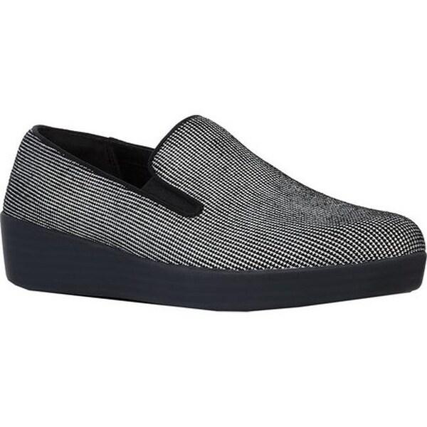 168646f5ad4 FitFlop Women  x27 s Superskate Loafer Black Houndstooth Foil Print Suede