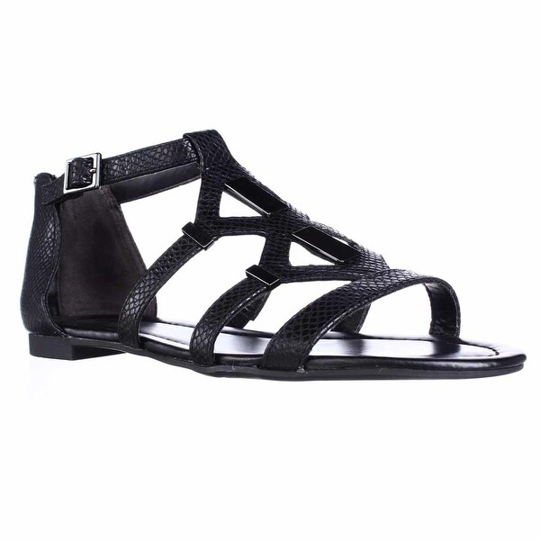B35 Rodeo Strappy Flat Sandals, Black Snake - 6.5 us