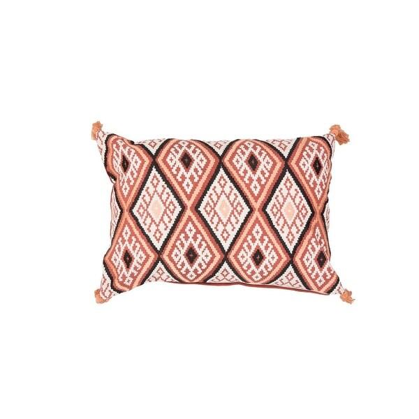 "20"" Sunset Orange, Peach Tan, Black and Oyster White Geometric Pattern Decorative Throw Pillow"