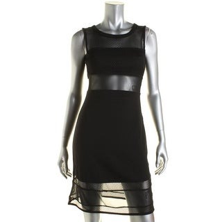 French Connection Womens Ponte Mesh Inset Cocktail Dress - 6