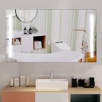 "Vanity Art 48"" LED Lighted Illuminated Bathroom Vanity Wall Mirror with Rock Switch, Horizontal Rectangle White Mirrors"