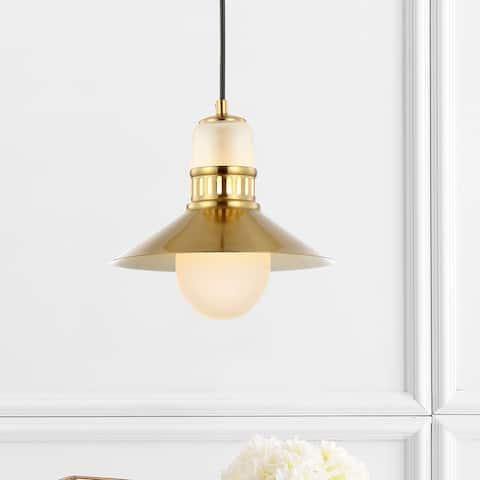 "JONATHAN Y Colin 9.75"" Adjustable Iron/Glass LED Pendant, Brass Gold"
