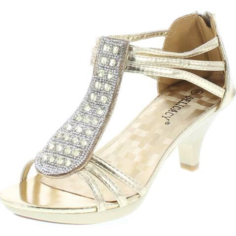Delicacy Angie-27 Women's Patent Open Toe Rhinestone Beads D'orsay Zip Closure Kitten Heel Dance Shoes