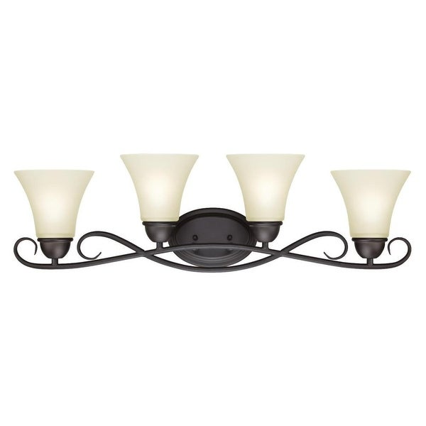 "Westinghouse 6307000 Dunmore 32"" Wide 4 Light Bathroom Vanity Light with Frosted Glass Shades - Oil Rubbed bronze"