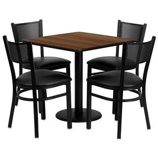 "Dyersburg 5pcs Table Set Square 30"" Walnut, Black Vinyl Chair"