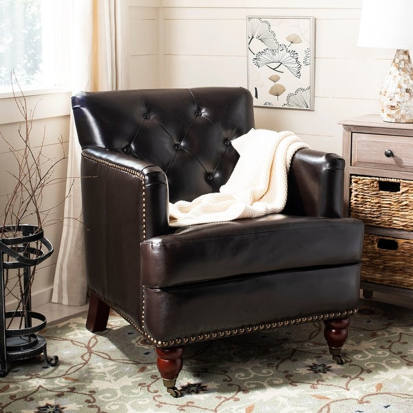 """SAFAVIEH Manchester Bicast Leather Brown Tufted Club Chair - 28"""" x 34.4"""" x 32.7"""". Opens flyout."""