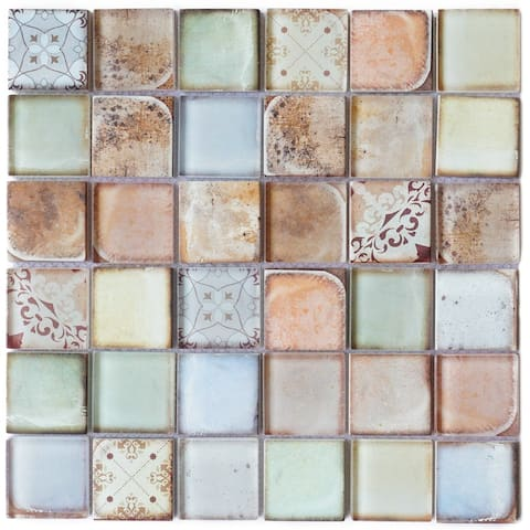 "TileGen. Classic Roman 2"" x 2"" Glass Mosaic in Retro Wall Tile (10 sheets/9.7sqft.)"
