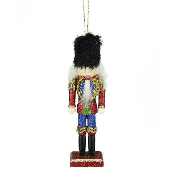 "6"" Red, Blue and Gold Wooden Glittered Christmas Soldier Nutcracker Ornament"