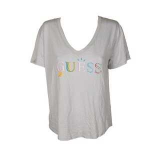 Guess Light Grey Short-Sleeve Graphic V-Neck T-Shirt L