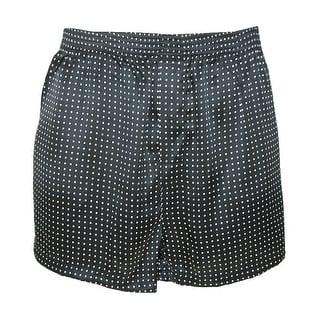 Majestic International Men's Silk Polka Dot Boxer Shorts - Black - xlarge