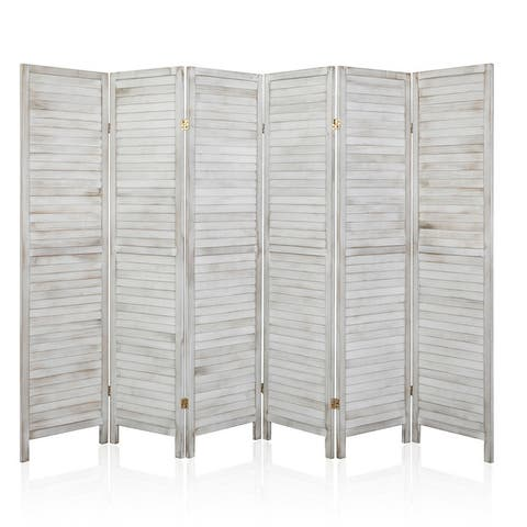 """72"""" 6 Panel Wood Folding Freestanding Room Divider Privacy Screen - 5.9ft"""