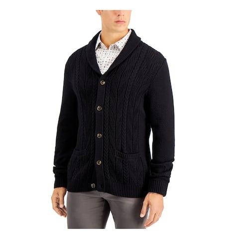 TASSO ELBA Mens Black Shawl Collar Classic Fit Button Down Cotton Sweater XL