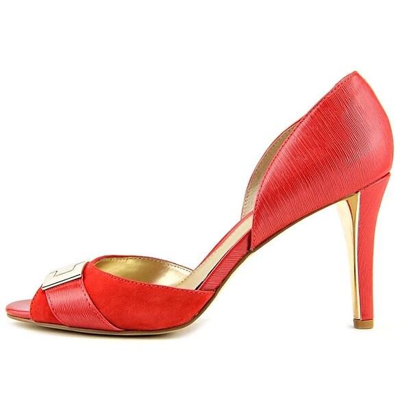 Alfani Womens LEORA Leather Peep Toe Classic Pumps