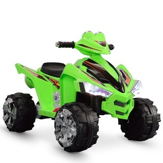Kidzone Outdoor 12V Powered Electric Kids ATV Quad Vehicle Car w/ LED Headlights and Music Horn, Green