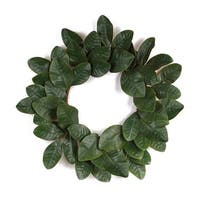 Pack of 2 Green Artificial Magnolia Leaf Christmas Decorative Wreaths 17""