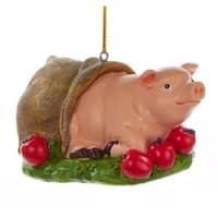 "3"" Decorative Pig In A Blanket Farm Animal Christmas Ornament"