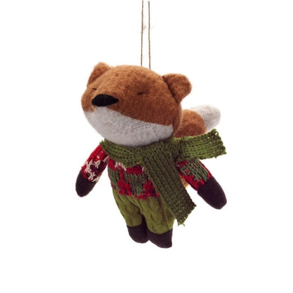 """5.75"""" Country Cabin Plush Woodland Fox Wearing Knit Clothing Christmas Ornament"""