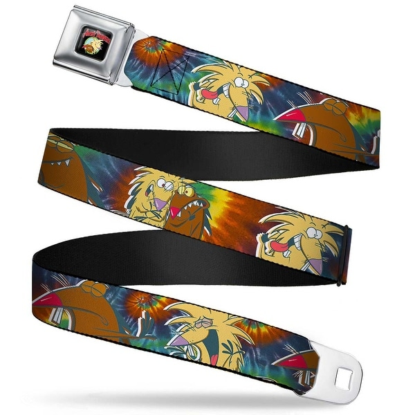 Angry Beavers Logo Full Color Black Daggett & Norbert Poses2 Tie Dye Seatbelt Belt