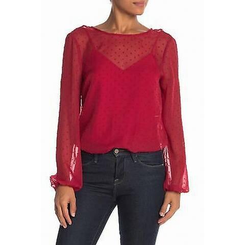 WAYF Deep Red Womens Size Large L Sheer Swiss Dot Bodysuit Top