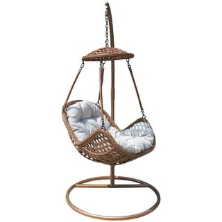 Courtyard Casual Princeton 2 Piece Aluminum Hanging Basket Chair and Stand Set