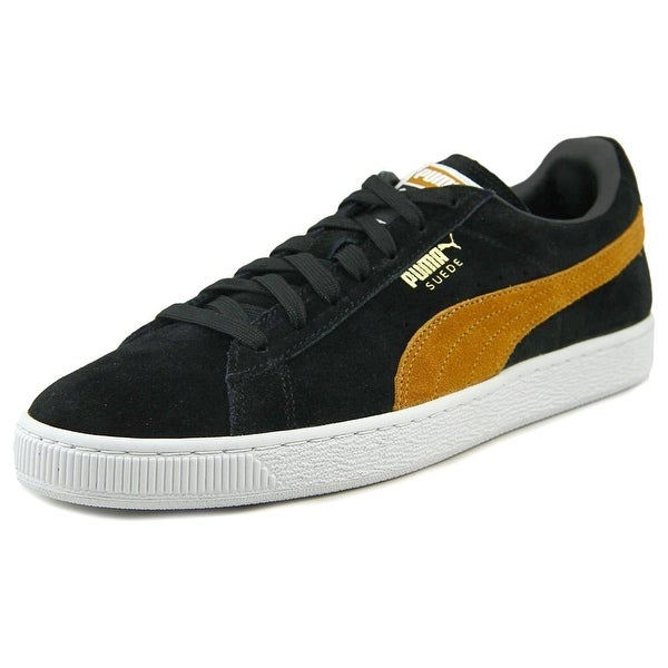 Puma Suede Classic + Men Round Toe Suede Black Sneakers