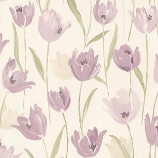 Brewster 347-20113 Finch Purple Hand Painted Tulips Wallpaper