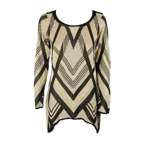 Inc International Concepts Black Gold Metallic Handkerchief-Hem Sweater Tunic S