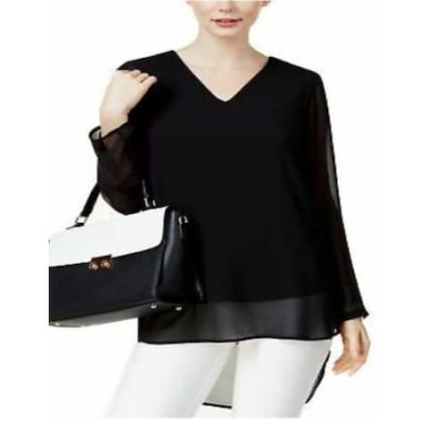 Alfani Women's Long Sleeve Shirt, Deep Black, X-Small