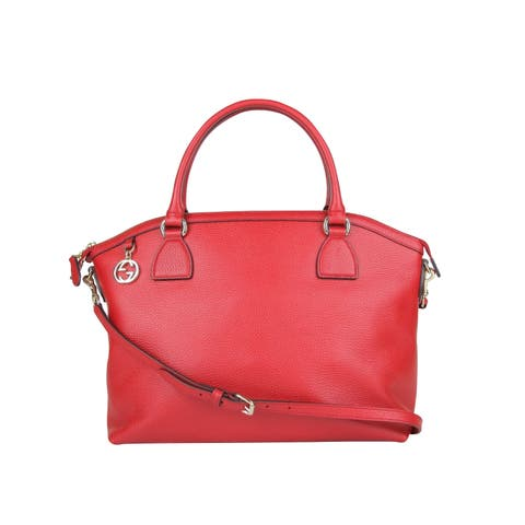 945d67720ff68f Gucci GG Charm Red Leather Large Convertible Dome Bag With Detachabel Strap  449660 6420