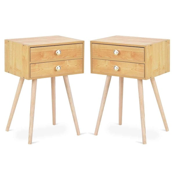 Shop Costway Mid Century Modern 2 Drawers Nightstand In