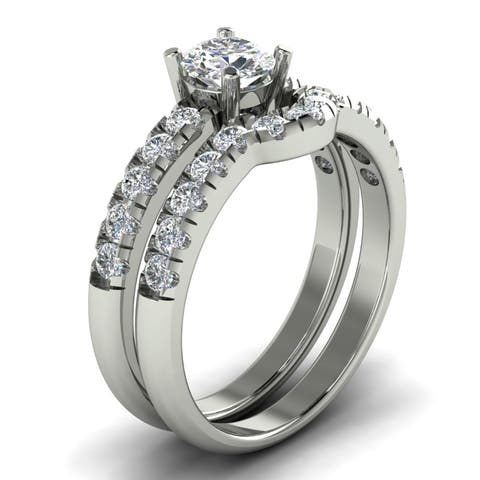 1.20 CT Round Cut Diamond Curved Engagement Matching Bridal Set In 14K