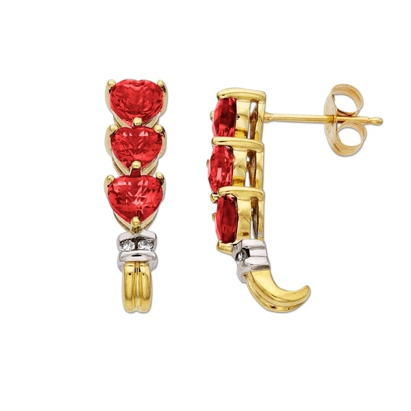 1 7/8 ct Created Ruby Earrings with Diamonds in 10K Gold - Red
