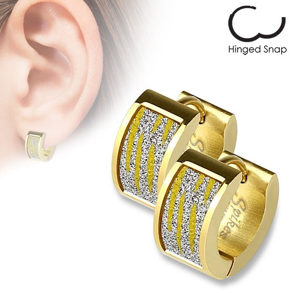 Pair of Gold IP Square Gold Zebra Sand Sparkle Stainless Steel Hoop Earrings
