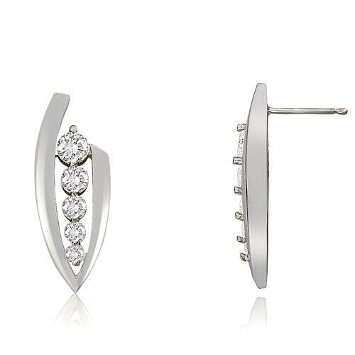0.75 cttw. 14K White Gold Stylish Round Cut Diamond Journey Earrings