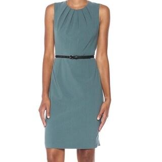 Nine West Patina Green Womens Size 12 Pleat-Neck Sheath Dress
