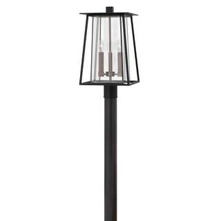 "Hinkley Lighting 2101BK-LL Walker 3 Light 11-1/4"" Wide Landscape Single Head Post Light with Clear Glass Shade"