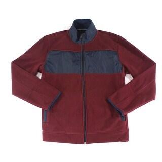 Nautica NEW Red Mens Size XL Full Zip Mock-Neck Colorblock Sweater