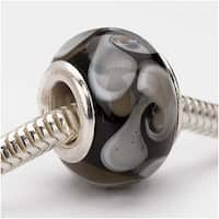 Glass Lampwork European Style Large Hole Bead - Black Paisley 14mm (1)