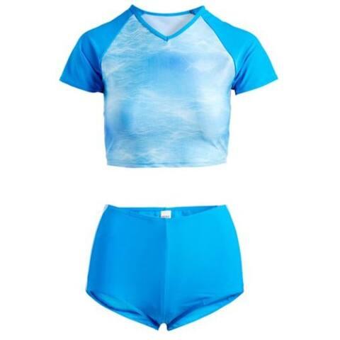2 piece rashguard set in blue / blue shimmer