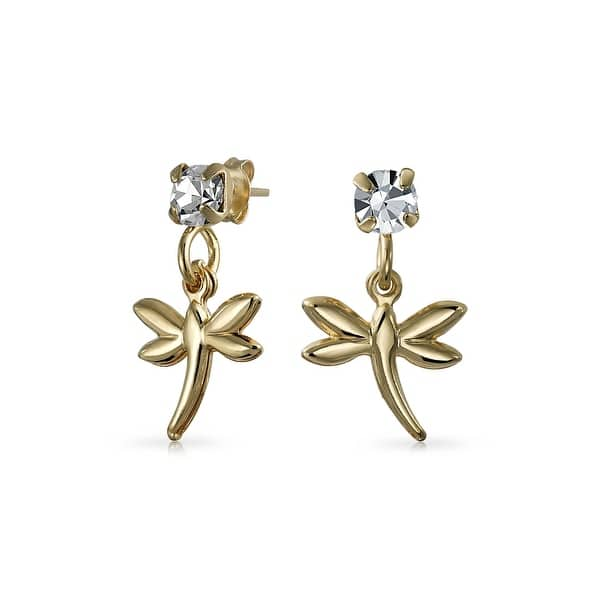 da1d8220634b0 Dragonfly Garden Flower Insect Colorless Crystal Dangle Earrings For Girls  18K Gold Plated Brass