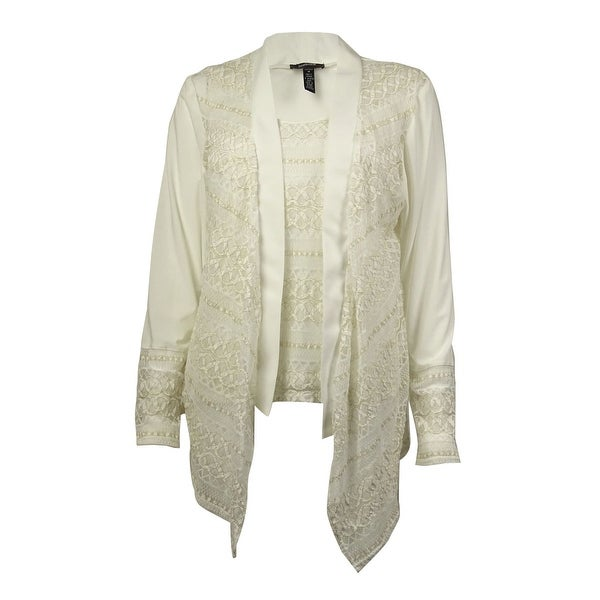 R & M Richards Women's Lace Blouse and Jacket - ivory/gold