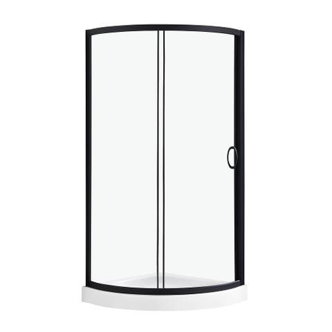 OVE Decors Breeze 34 in. Black Shower Kit with Clear Glass Panels and Base included
